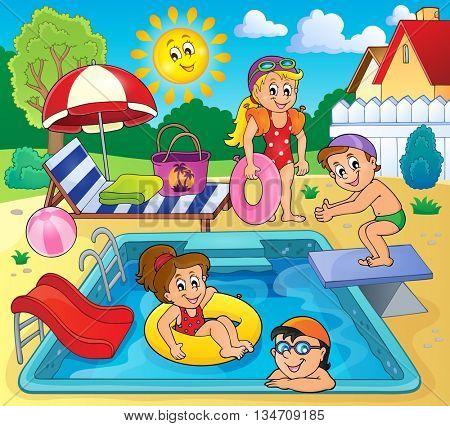 Children by pool theme image 2 - eps10 vector illustration.