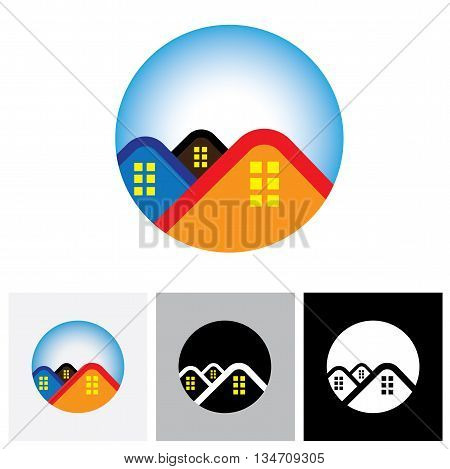 House ( Home ) & Residence Symbol For Real Estate - Vector Logo Icon