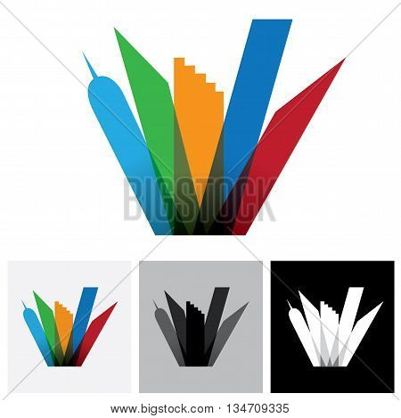 Colorful Commercial Buildings,offices, Cityscape- Vector Logo Icon