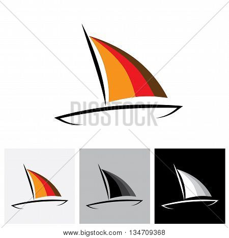 Logo Vector Icon Of Colorful Boat