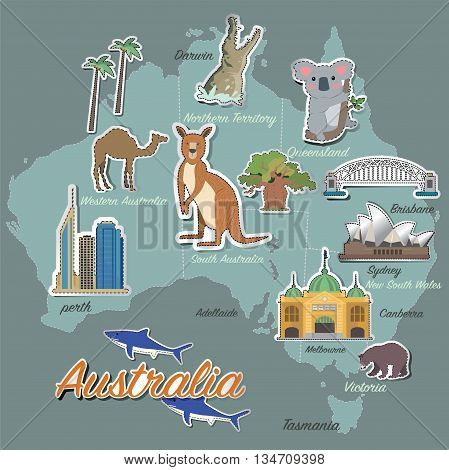 Australia map and travel icon eps 10 format