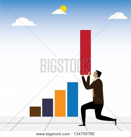 Vector Concept Of Businessman Or Executive Helping Business Improve