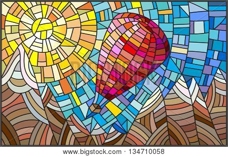 Winter landscape in the stained glass style hot air balloon on the background of sky sun and snow-capped mountains