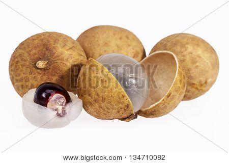 some fruits of longan isolated on white background.
