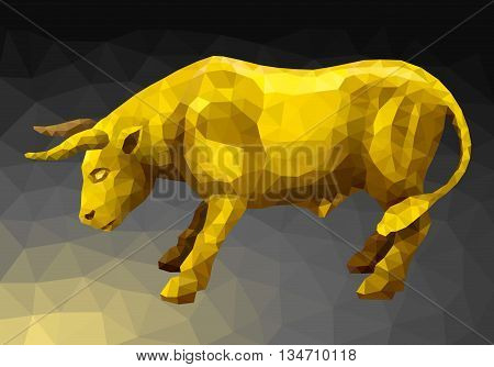 Vector illustration. Abstract animal in the polygon style. Golden bull standing in a combat stance taking aim at the enemy horns in the dark