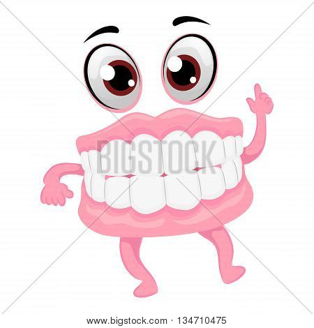 Vector Illustration of Dentures Mascot pointing up