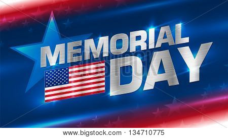 Lettering Memorial Day with a flag of America on an abstract background. Metal texture on the letters and the flag. Format 16:9. EPS 10. The clear structure of the layers