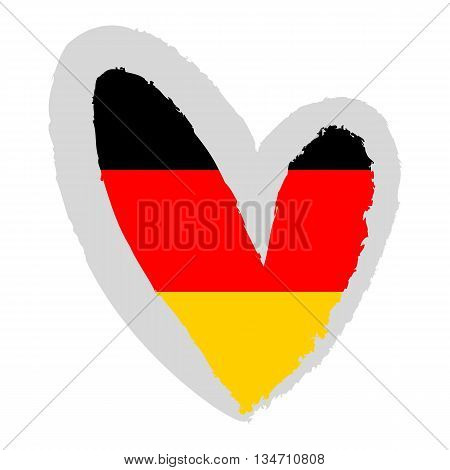 German flag. Vector Illustration. Flag of Germany in the form of heart.