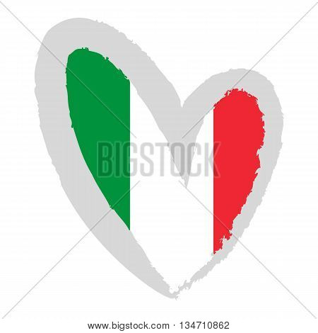 Italian flag. Vector Illustration. Flag of Italy in the form of heart.