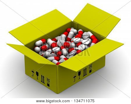 Box with medications. Yellow open box full of capsules and tablets. Isolated. 3D Illustration