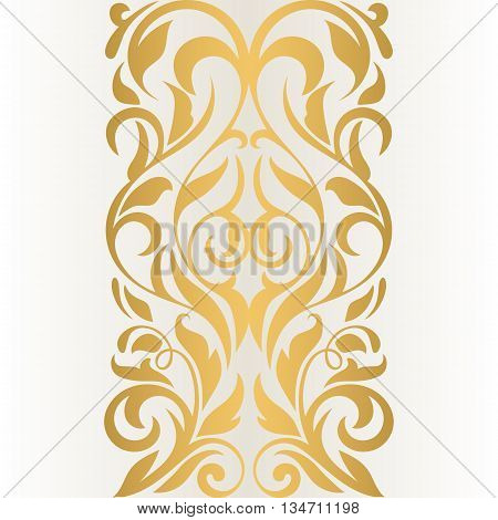 Golden abstract border on a light background. Vintage pattern. Abstract border. Vintage design. Floral border.