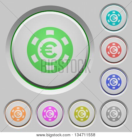 Set of color Euro casino chip sunk push buttons.