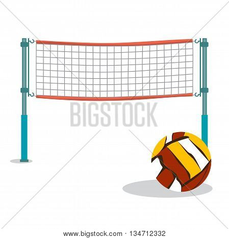 Beach volleyball and net flat cartoon vector illustration on white background