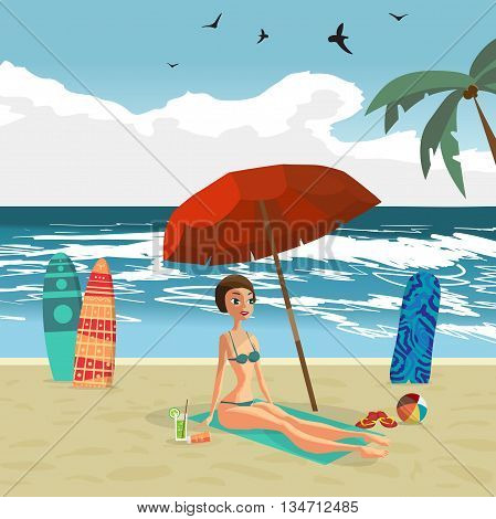 Woman dressed in green swimsuit is sitting on the beach under an umbrella. Vector flat design illustration. Sea landscape summer beach surfboards stuck in the sand