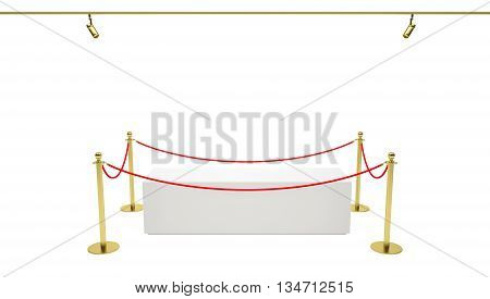Empty showcase with tiled stand barriers for exhibit. Isolated white background. 3D illustration