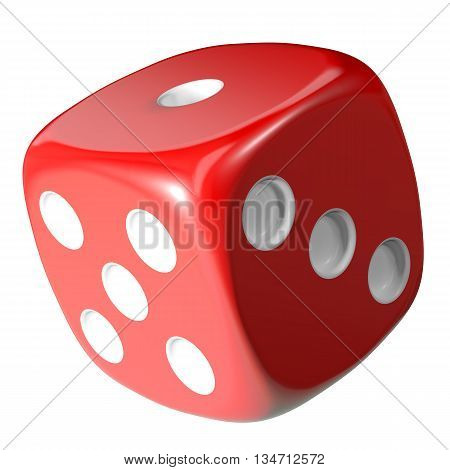 Red dice isolated on white background. 3d illustration