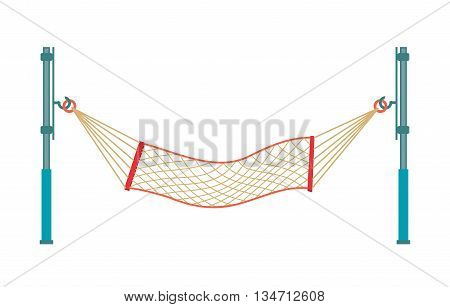 Travel concept with a hammock in a beach in isolated. Vector flat cartoon illustration