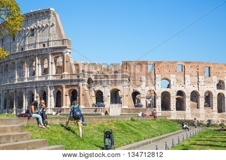 ROME, ITALY - APRIL 8, 2016: Ruins of Coliseum, panoramic view