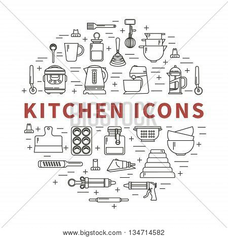 Set of kitchen utensils and items for baking. Cookware. Icons in a linear style. Kitchenware. Modern design.