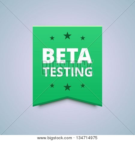 Beta testing badge. Vector illustration in flat style.