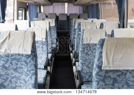 Blue Fabric Vehicle Seat On Bus