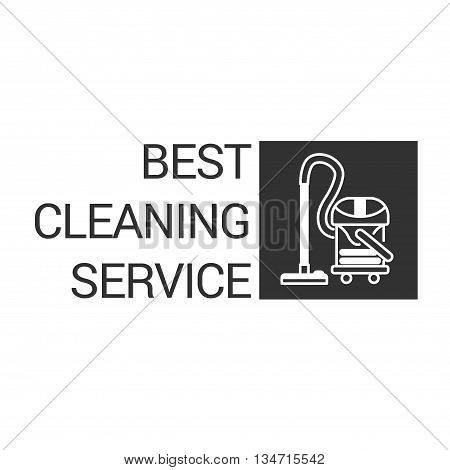 Vacuum cleaner in line style. Vector logo template isolated on a white background.