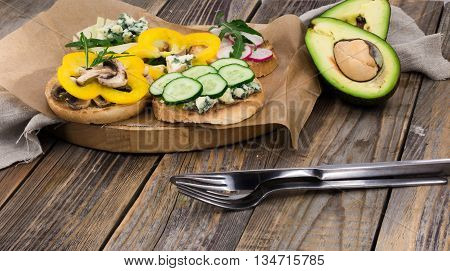 Sandwiches Healthy Food On Wooden Background