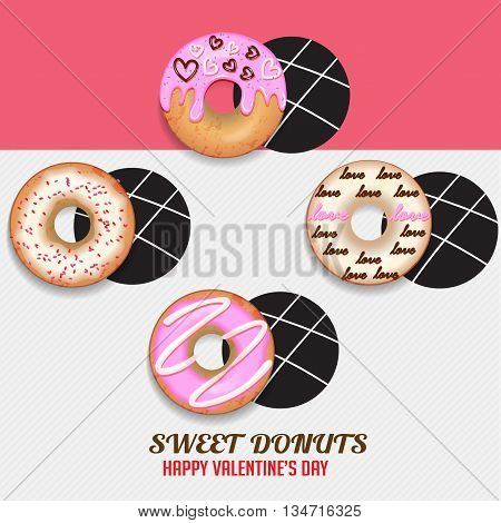 Sweet donuts set for happy valentine's day.