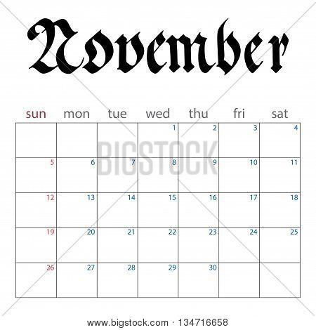 Calendar Planner For November 2017