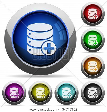 Set of round glossy Add to database buttons. Arranged layer structure.