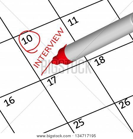 Red mark schedule interview this month on calendar