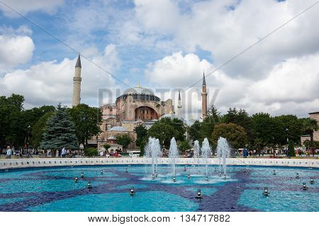ISTANBUL TURKEY - JUNE 19 2015: Hagia Sophia was a Greek Orthodox Christian patriarchal basilica (church) later an imperial mosque and now a museum in Istanbul Turkey