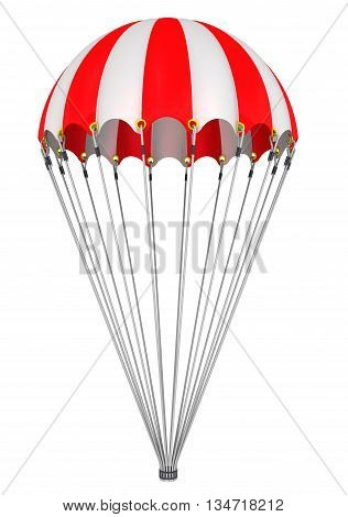 Parachute. The dome of red and white parachute with suspension system. Isolated. 3D Illustration