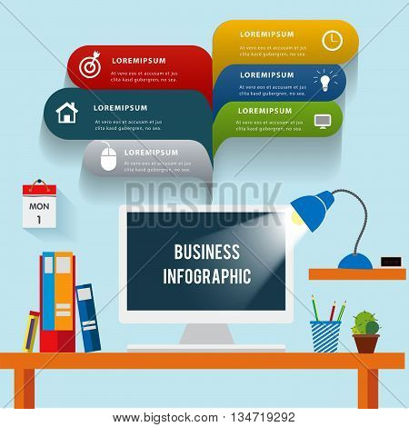 Desk in office. Can uesd for presentation, data diagram and infographic business