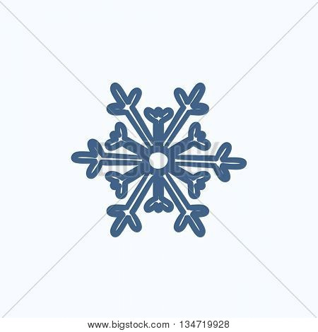 Snowflake vector sketch icon isolated on background. Hand drawn Snowflake icon. Snowflake sketch icon for infographic, website or app.