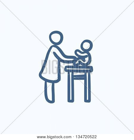 Woman taking care of baby vector sketch icon isolated on background. Hand drawn Woman taking care of baby icon. Woman taking care of baby sketch icon for infographic, website or app.
