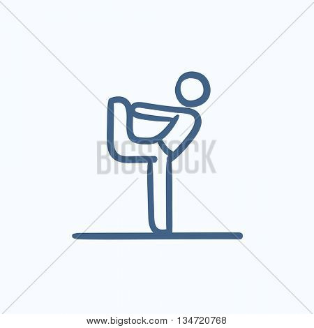 Man in yoga pose nataradzhasana vector sketch icon isolated on background. Hand drawn Man in yoga pose nataradzhasana icon. Man in yoga pose nataradzhasana sketch icon for infographic, website or app.