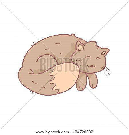 Sleeping Fluffy Grey Cat Flat Outlined Pale Color Funny Hand Drawn Vector Illustration Isolated On White Background