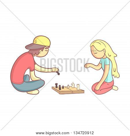 Girl And Guy Playing Chess Flat Outlined Pale Color Funny Hand Drawn Vector Illustration Isolated On White Background