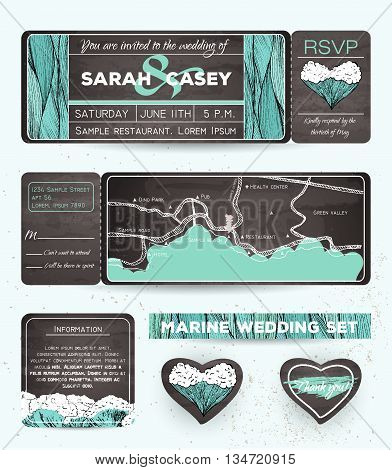 Marine wedding invitation set with rsvp card. Ticket to a sea party with road map. Chalkboard design
