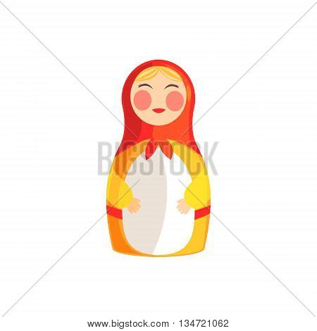 Souvenir Russian Doll Bright Color Detailed Cartoon Style Vector Illustration Isolated On White Background