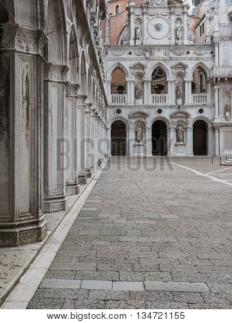 Arcade And Courtyard In The Doge's Palace: Gothic Architecture In Venice, Italy