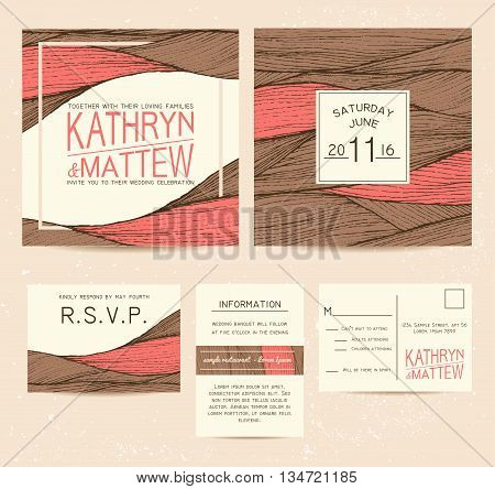 wedding invitation set with rsvp card. beautiful wavy ornament background in warm tones