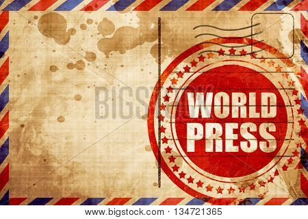 world press, red grunge stamp on an airmail background