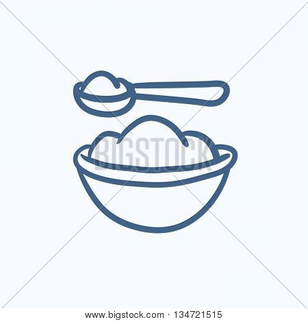 Baby spoon and bowl full of meal vector sketch icon isolated on background. Hand drawn Baby spoon and bowl full of meal icon. Baby spoon and bowl sketch icon for infographic, website or app.