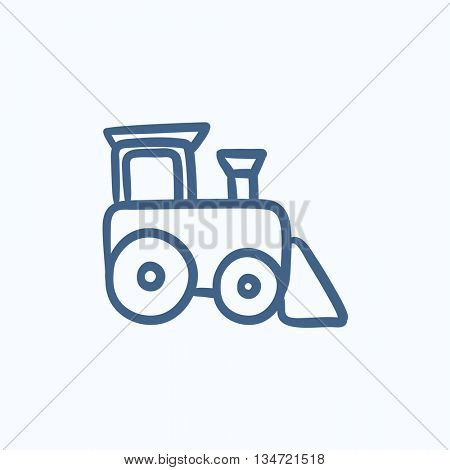 Toy train vector sketch icon isolated on background. Hand drawn Toy train icon. Toy train sketch icon for infographic, website or app.