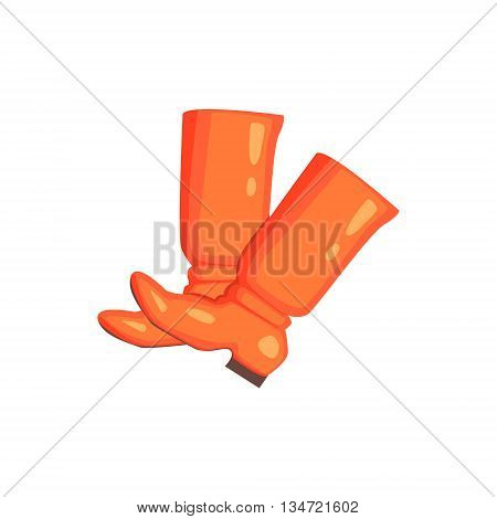 Russian Souvenir Leather Boots Bright Color Detailed Cartoon Style Vector Illustration Isolated On White Background