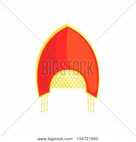 Russian National Women Headdress Bright Color Detailed Cartoon Style Vector Illustration Isolated On White Background