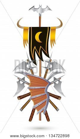Coat of Arms to fantasy style on a white background. Shield sword ax standard with moon and bat.