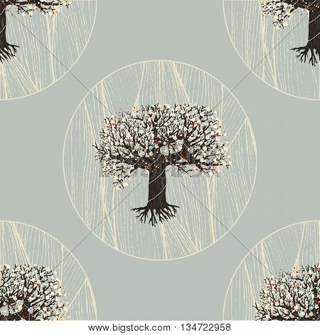 vector seamless pattern. blooming fairy tree with root. geometric design